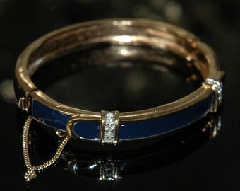 Retro 80s Panetta Bangle Bracelet, Dark Navy Blue, Gold, Crystal Rhinestones, Hinged w/Safety Chain, High Quality, Pristine Condition
