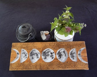 Moon Phase Watercolour and Acrylic Wall Plaque (Vintage Pine)