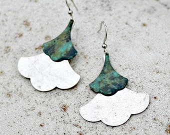 Bohemian Silver Leaf Earrings, Teal Patina, Simple Design