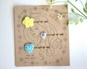Trio of yellow blue heart floral hairpins bobbie pins