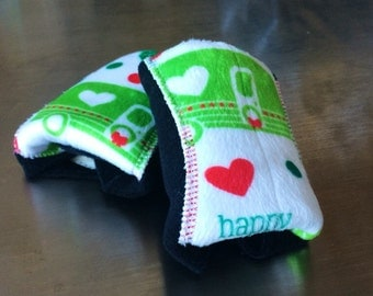 Clearance!   Pair of medium flow minky pads in Happy Camper