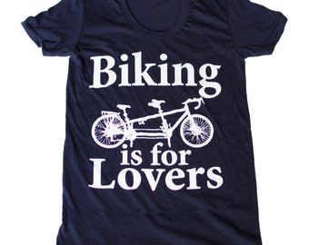 Biking is for Lovers - Tandem Bike Unisex T-Shirt Cranberry - Complimentary Shipping - Available in xs, s, m, l, xl and xxl