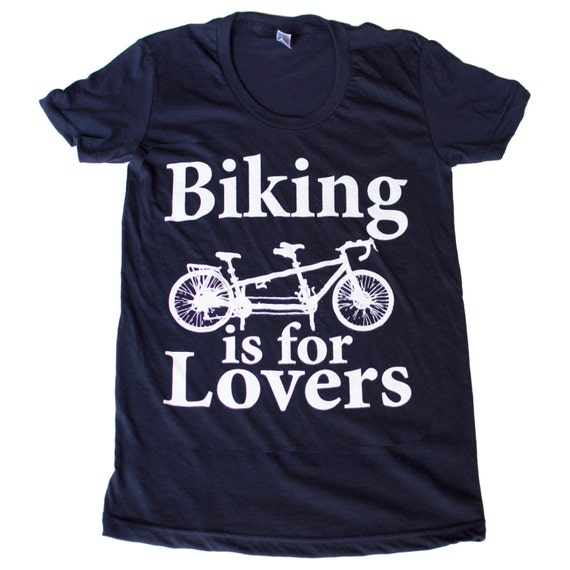 Biking is for Lovers - Tandem Bike Unisex American Apparel T-Shirt Cranberry - Complimentary Shipping - Available in xs, s, m, l, xl and xxl