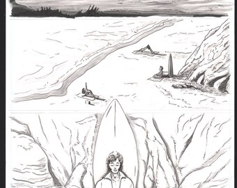 "King Surf- ""King Surf and The Sea"" Page 1 Original Art"