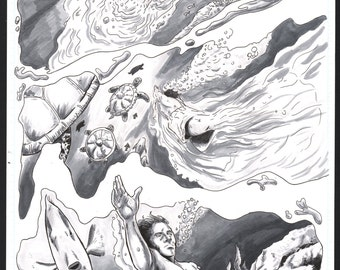 "King Surf- ""King Surf and The Sea"" Page 3 Original Art"