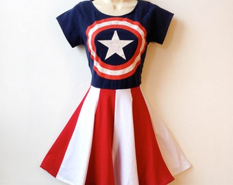 Captain America Dress // Womens Superhero Halloween Costume // Rockabilly Pin Up Girl Dress