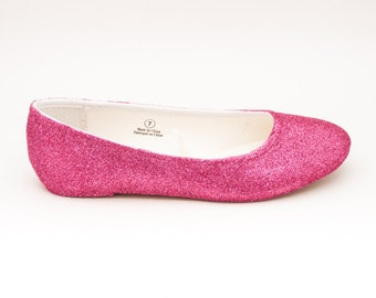 Glitter | Rose Pink Ballet Flat Slipper Custom Shoes