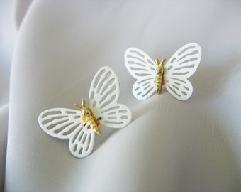 White Butterfly Earrings Enamel Goldtone Pierced 1970s
