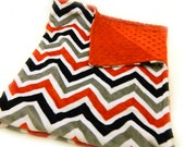 Gray Red Black Chevron  Baby Minky Blanket, ready to mail