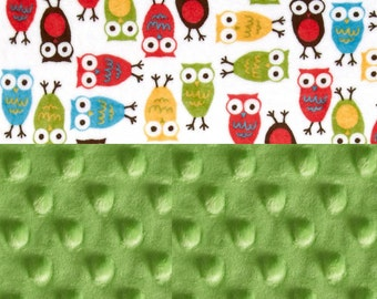 Owl Minky Baby Blanket Boy , Personalized Baby Blanket - Yellow Brown Blue Lime Red Stroller Blanket - Owl Blanket