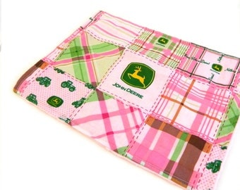 Girl Burp Cloth -Minky Pink John Deere Burp Cloth Pink Blue - Mini Lovey - Ready to ship