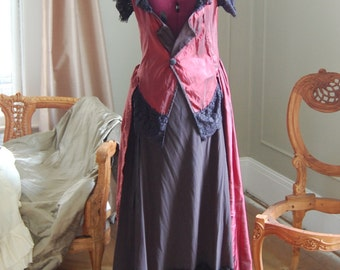 Victorian red and black satin inspired over dress top bodice with skirt