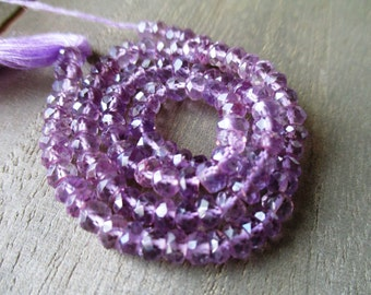 Amethyst, Faceted, Rondelle, Purple, Bead, Beads, February Birthstone, Jewelry Making- 6mm- 7 inch