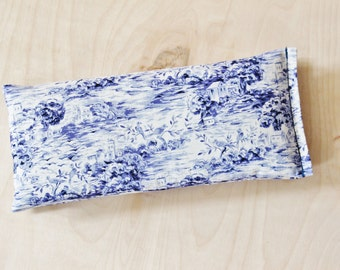 Cotton Eye Pillow filled with Lavender & Flaxseed, Blue and White Country Chic, Relaxation Gifts for Women