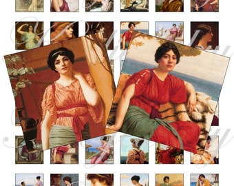 Greek Muses - John William Godward  1x1 ich for pendant, scrapbook and more Digital Collage Sheet No.1508