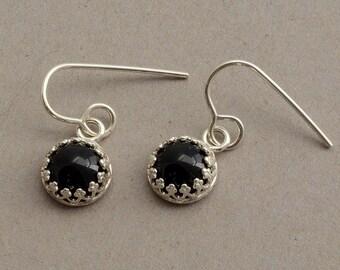 Black onyx earrings, sterling silver filigree earrings, genuine natural stone jewelry little small dangle earrings everyday hypoallergenic