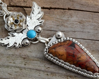 Sterling silver poppy flower jasper pendant necklace, leaf necklace, natural stone jewelry, onyx sleeping beauty turquoise necklace, artisan