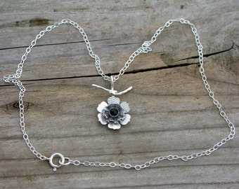 Little sterling silver flower pendant necklace dainty genuine black onyx natural stone necklace contemporary artisan unusual floral jewelry