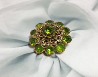 Vintage Lime Green and Gold Brooch