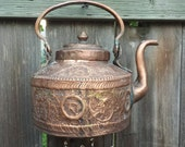 Embossed Copper--Exotic teapot given new life as a Windchime