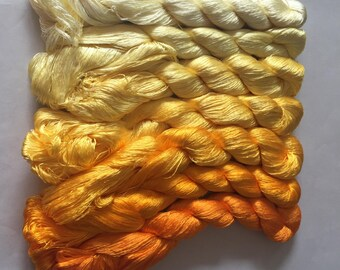 7 skeins Chinese natural mulberry silk embroidery threads floss 440m per skein 8#