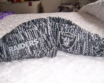 "Handmade Knitted  ""NFL RAIDERS SLIPPERS""   mens size 11-12"