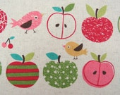 2647 -- Happy Day - Birds and Sweet Fruits Fabric, Bird, Apple, Pear, Lemon, Japanese Cotton/Linen Fabric
