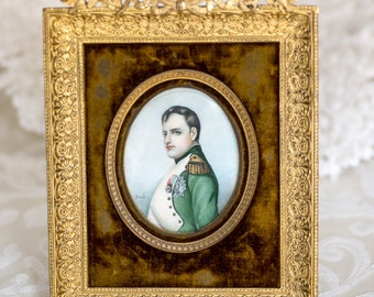 Antique 19th Century 1870s French Napoleon Portrait Painting on Faux Ivory, Gilt Frame