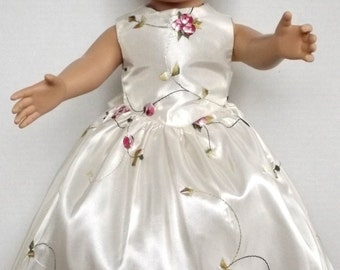 """Fancy embroidered ivory satin gown or party dress for the American Girl or other 18"""" doll"""