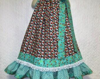 FALL Girls Dress 4T/5 Aqua Rose Owls Flower Pillowcase dress, Pillow Case Dress, Boutique Dress, Sundress