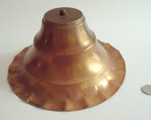 Vintage Round Copper Lampshade, Crimped Edge, Aluminum Finish Inside, with Metal Clip to Fit Lightbulb, 8 in. dia. x 5 in. high,