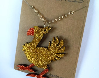 Chocobo - glitter Final Fantasy necklace