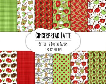 Gingerbread Latte Hand Drawn Digital Paper - Set of 12 - Coffee Mugs, Latte, Gingerbread Man, Holly, Donuts - Instant Download - Item #8285