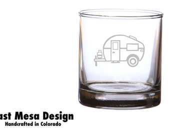 Camper Etched Whiskey Glass - set of 2