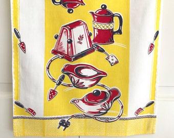 Vintage Tea Towel Mid Century Kitchen Appliances Red Yellow