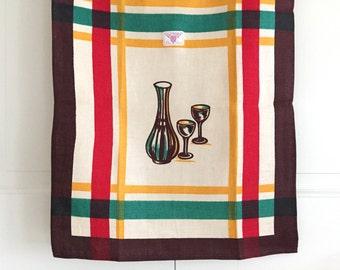 Vintage Tea Towel Crystal Decanter Wine Glasses Victory Label NOS New Old Stock