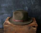 Fedora Hat Wool Felt Bohemian Fashion Green Stetson Brimed Hat With Leather Band Women's Small to Medium  From Nowvintage on Etsy