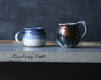 Vintage Two Mugs Coffee Cups Hand Made Blue and Brown Vintage From Nowvintage on Etsy