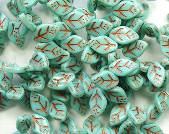 Opaque Turquoise Copper Leaf Beads Top Drilled Czech Glass 8x12mm - 25