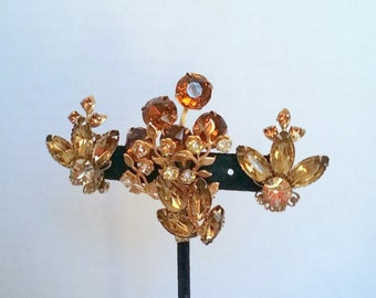 Vintage Beautiful Set Brooch Clip Earrings Rhinestones Beau Jewels Multi Level Ambers