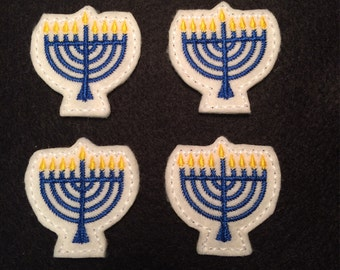 Menorah Hanukkah Blue Holiday Embroidered Felt Applique
