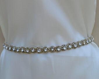 Bridal Rhinestone Ribbon Sash / Deco Bridal Belt /  Bridal Rhinestone Belt / Vintage Inspired Bridal Belt