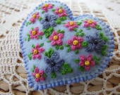Heart Shaped Pin  with Hand Embroidered Flowers  Blossom and Leaves