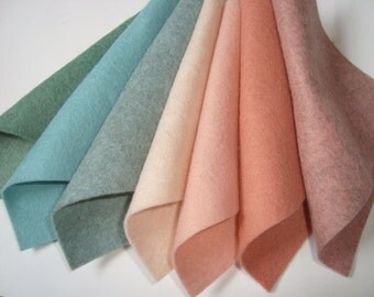 Wool blend Felt by the sheet The Blue Blush set  9 x 12 sheets  7 pieces