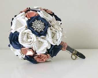 Dr. Who Navy blue and Bronze Harry Potter book page bouquet