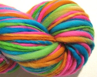 Handspun yarn Electric Easter Egg 144 yds bulky yarn thick n thin yarn handdyed merino wool blue yarn knitting supplies crochet supplies