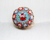 Vintage Italian Micro Mosaic, Glass Tile, Roses, Floral Brooch
