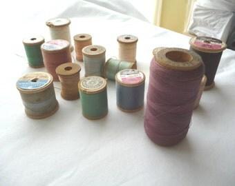 Vintage Wooden Spools, MOM, 15 Wooden Spools, Vintage Thread, JP Coats, Talon, Belding Corticelli,Coats Clarks,Star Mercerized,Sewing Thread