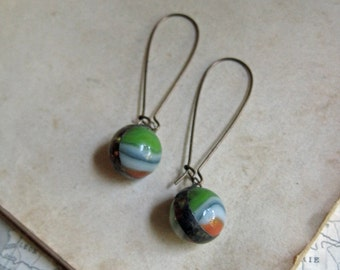 Autumn Glass Marble Earrings Recycled Jewelry