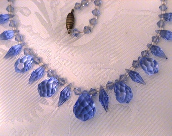 Vintage 1930s Art Deco Blue Crystal Briolette Necklace